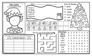 Christmas Activity Mat - A Page FULL Of Fun Christmas Activities!