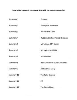 Christmas Activity: Matching Movie Summaries to Titles
