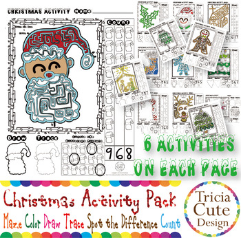 Christmas Activities Maze Coloring Drawing Tracing Spot Difference Counting