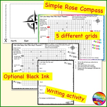 Printable Christmas Activity Rose Compass Plotting Directions Simple Grid Map