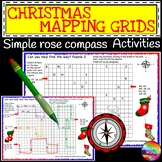 Christmas Activity Rose Compass Plotting Directions Simple Grid Map and Writing
