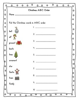 Christmas Activities first and second grade - Word search, word scramble, abc