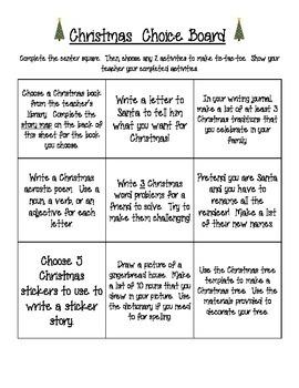 Christmas Activity/Choice Board