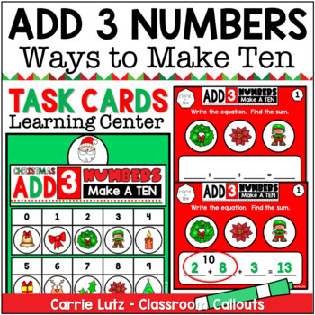 Christmas Add 3 Numbers - Make a Ten - Task Cards
