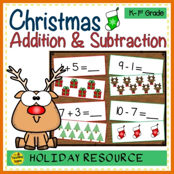 Christmas Add & Subtract 0-10 Number Sentence Match