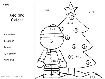 Christmas Math Add and Color Free