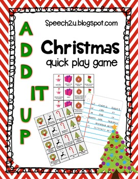 Christmas Add it Up: Open ended Game Speech Therapy