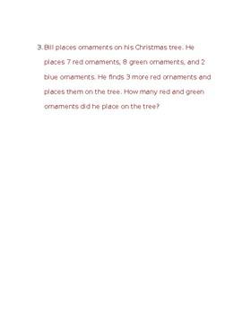 Christmas Adding 3 Numbers Addition