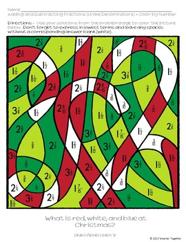 Christmas Adding and Subtracting Fractions