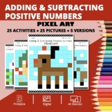 Christmas: Adding and Subtracting Integers #1 Pixel Art My