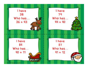 2 Digit Addition Christmas I Have Who Has Game