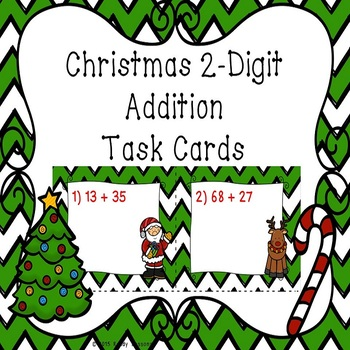 2 Digit Addition Christmas Task Cards