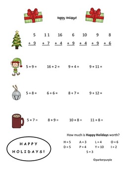 Christmas Activities  first and second grade - addition