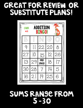 Christmas Addition BINGO! 32 different cards... with CUTE HOLIDAY ANIMALS!