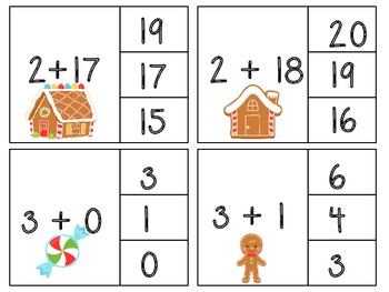 Christmas Math Addition to 20 Clip Cards