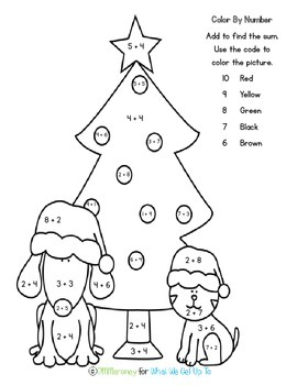 Christmas Addition Color by Sums Freebie