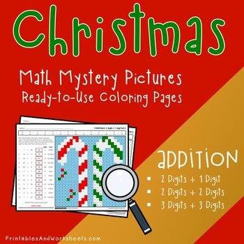 Christmas Math Addition, Christmas Addition Mystery Pictures Coloring Worksheets