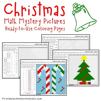 Christmas Addition Coloring Pages Worksheets