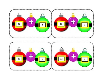 Christmas Addition Flash Cards 1-12