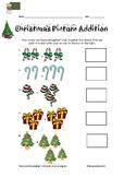 Christmas Addition: Kindergarten Picture Addition Worksheet