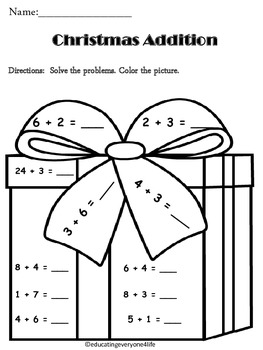 christmas addition teaching resources  teachers pay teachers christmas addition math coloring activtiy christmas addition math  coloring activtiy