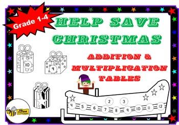 "Christmas Addition & Multiplication Tables Games: ""Help Save Christmas"""