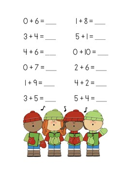 Christmas Addition Practice Packet (Sums of 6-10)