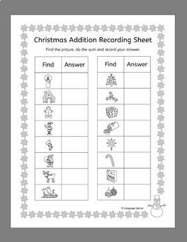 Christmas Addition Scavenger Hunt - add around the room