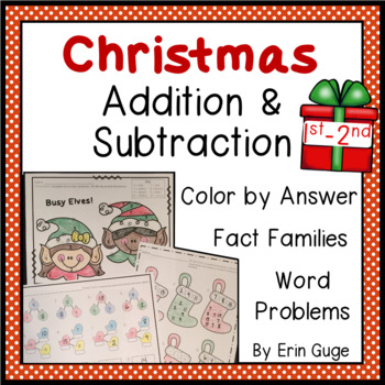 1st & 2nd Grade Christmas Addition & Subtraction Math Practice