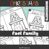 Christmas Addition/Subtraction Fact Family Worksheets with Addition to 10