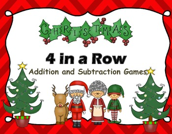 Christmas Addition Subtraction Math Facts Game 4 in a Row  Centers