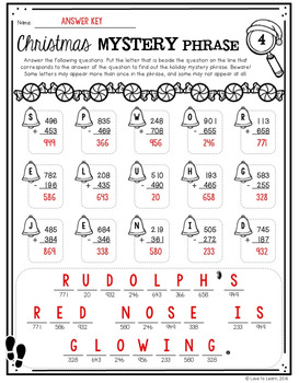 Christmas Addition & Subtraction Math Mystery Phrases (3-Digit)