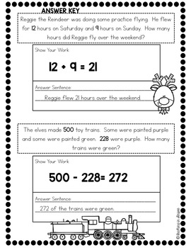 Christmas Addition & Subtraction Story/Word Problems