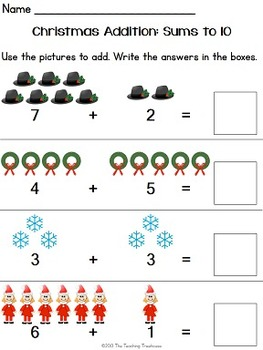 Christmas Addition & Subtraction Within 10