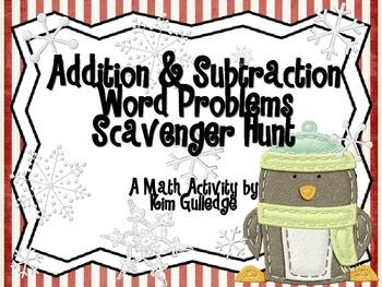 Christmas Addition & Subtraction Word Problem Scavenger Hunt for 1st Grade