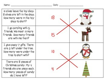 Christmas Addition & Subtraction Word Problem Scavenger Hunt for 1st Grade