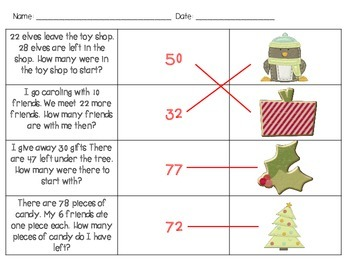 Christmas Addition & Subtraction Word Problem Scavenger Hunt for 2nd Grade