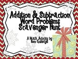 Christmas Addition & Subtraction Word Problem Scavenger Hunt for 2nd Grade