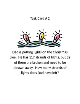 Christmas Addition/ Subtraction Word Problem Task Cards