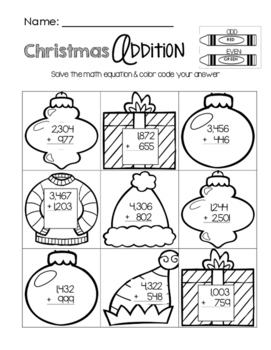 christmas addition worksheet by little learning lane  tpt