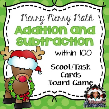Christmas Math Game - Addition and Subtraction with 100
