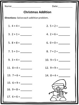 Christmas Addition and Subtraction Easy Prep Worksheets