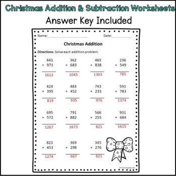 Christmas Addition and Subtraction Freebie