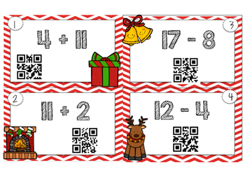 Christmas Addition and Subtraction QR Task Cards