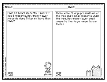 Christmas Addition and Subtraction Word Problems First Grade