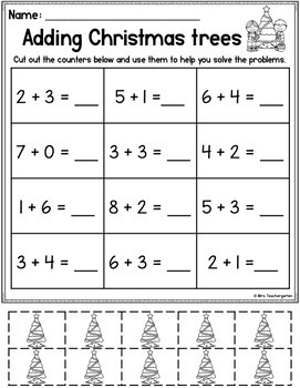 Christmas Addition and Subtraction with counters