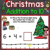 Christmas Addition to 10 with a Number Line Digital Boom Cards