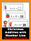 Christmas Addition with Number Line Write and Wipe Cards