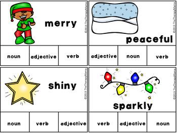 Christmas Adjective, Noun and Verb Task Cards