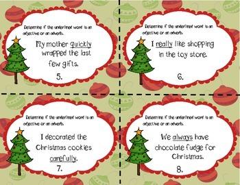Christmas Adjective& Adverb Task Cards